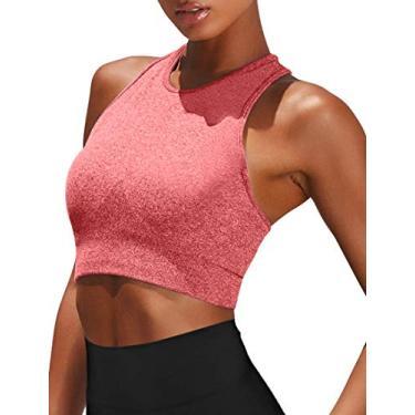 OQQ Sutiã esportivo feminino sem costura para academia, ginástica, costas nadador, bojo acolchoado removível, Vermelho, Small