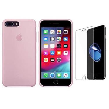 Capa Capinha iPhone 7 E 8 Plus Aveludada Película Vidro (Vermelho)