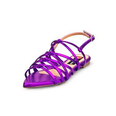 Sandalia Love Shoes Rasteira Bico Folha Trançado Nó Metalizado Roxo  feminino