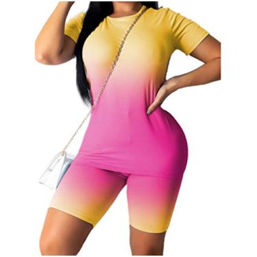 Mulheres Tie Dye Pajama Set manga curta T-shirt Top e Shorts Set Two Piece Outfit (2XL, Amarelo & Rosa)