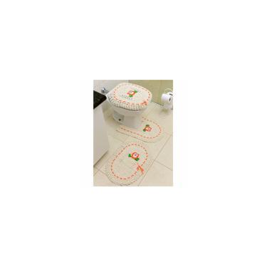 Imagem de Tapete De Croche Para Banheiro Coruja Fita Laranja 3pç
