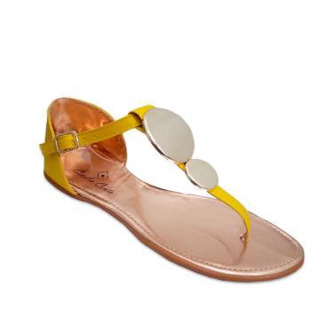 Sandália Rasteira Feminina Couro Estilo Shoes CC072 Amarelo  feminino