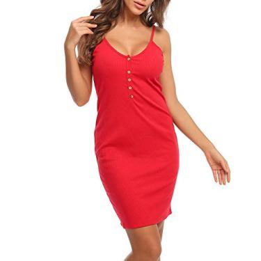 MACLLYN Vestido feminino básico de malha canelada sem mangas com decote em V, Vermelho, Large