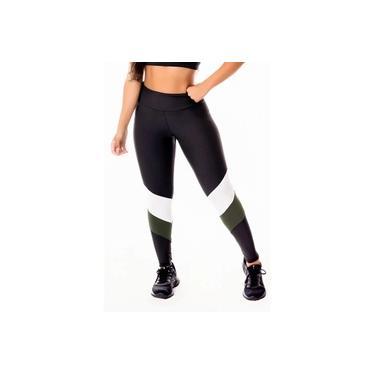 Imagem de Calça Legging Feminina Fitness Academia Preta com Verde Militar e Branco Cintura Alta