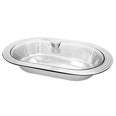 Imagem de Travessa oval em aço inox com tampa de vidro - 34cm Gourmet Mix