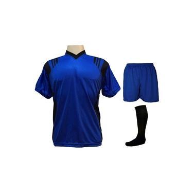 Imagem de Uniforme Completo Modelo Roma 18+1 (18 Camisas Royal/Preto + 18 Calções Madrid Royal + 18 Pares de Meiões Pretos + 1 Conjunto de Goleiro) +