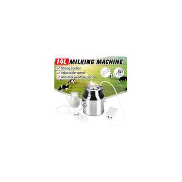 Imagem de Máquina de ordenha 5-14L elétrica para vaca / cabra / máquina de ordenha de ovinos 110V / 220V bomba de vácuo de aço inoxidável fazenda ordenhadeira de vaca de cabra