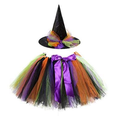 Imagem de Horoshop Saia tutu de tule arco-íris com conjunto de chapéu de bruxa para meninas, fantasia de cosplay para festa de Halloween