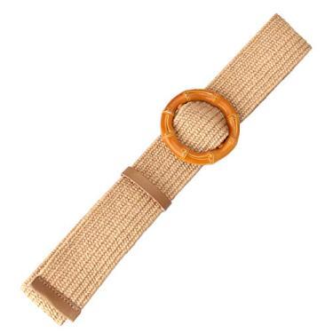 Romacci Cinto feminino de tecido de palha com fivela trançada na cintura, Fivela cáqui de bambu, tamanho �nico