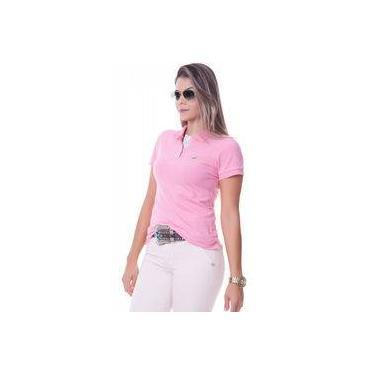 12da87b935 Camisa Polo Feminina Lisa Rosa Com Detalhe Floral na Gola - Sapocaco