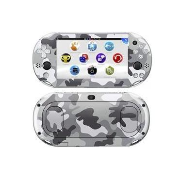 Kit Skin Adesivo Protetor PS VITA Playstation 2000 Slim (Camuflado Cinza)