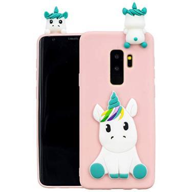 SHUNDA Capa para Galaxy S9 Plus, capa fosca de unicórnio 3D flexível de silicone TPU com absorção de choque capa protetora para Samsung Galaxy S9 Plus/S9+ - Rosa