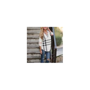 Camisa feminina estampada xadrez de design de moda folgada camisa feminina casual