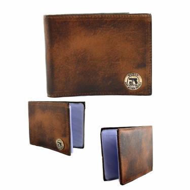 Carteira Masculina Grande Couro Legítimo Porta Cartão Documentos Marrom