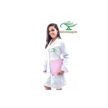 Jaleco Branco Enfermagem Feminino em Gabardine Luxo