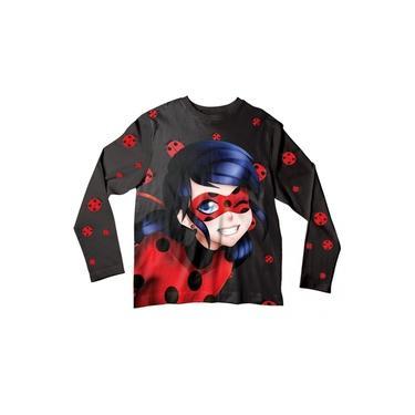 Camiseta Infantil Ladybug Preta ML