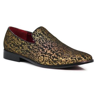 ARK1 Mocassim masculino vintage acetinado sedoso floral fashion sem cadarço smoking formal social sapato designer, Dourado, 6.5