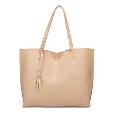 WooDlan bolsa de outono e inverno bolsa da moda com borla feminina bolsa da moda feminina bolsa de ombro padrão caqui