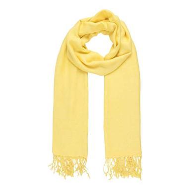 Echarpe Lisa Amarelo 150g c/Franja Viscose 180x70 cm