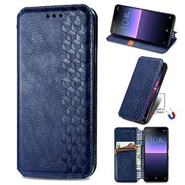 XYX Capa carteira para LG Stylo 7 5G, [Diamante em relevo][Fecho magnético] Capa para celular de couro PU premium compatível com LG Stylo 7 5G, azul