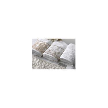 Imagem de Kit Toalha Lavabo Rosto - Imperiale Bordada- Trussardi - Toalha branca com bordado Off White