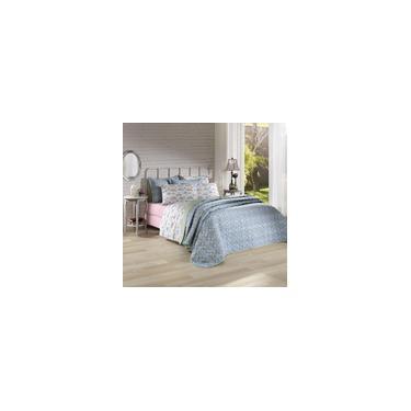 Imagem de Jogo de cama duplo queen 150 fios linha Prata estampa Angela Rosa - Santista