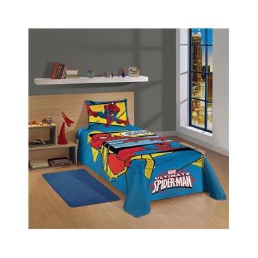 Jogo para Cama Infantojuvenil Lepper Spider-Man Ultimate em Algodão e Poliéster com 2 Peças - Azul