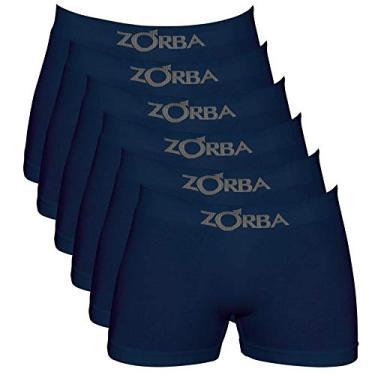 Kit 6 Cuecas Boxer Zorba 781, Algodão, Sem Costura, Azul