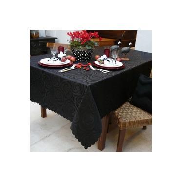 Imagem de Toalha de Mesa Retangular Mehndi Prática Rosas 160x270 cm - Negra
