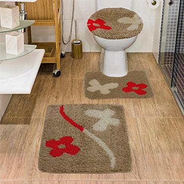 Imagem de Jogo de Tapete de Banheiro Jolitex Urban Natural 03 Peças