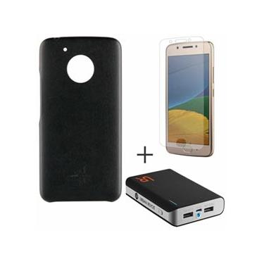 Capa para Moto G5 Preta Motorola - MO-MMBKC0010 & Pelicula em Vidro Motorola & Carregador 8800 MAH - Trust