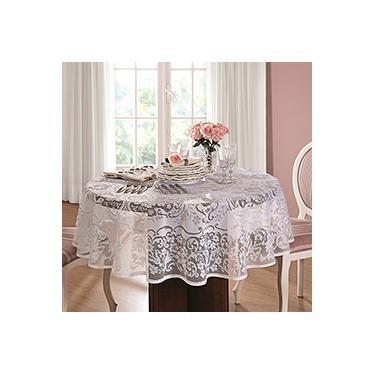 Imagem de Toalha de Crochê Rosas Redonda (160cm) Branca - Lepper