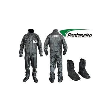 Combo Capa Roupa Chuva Vestimenta Vestuário Jaqueta Calça Pantaneiro Pvc Preta Moto Motoqueiro + Polaina Galocha Bota