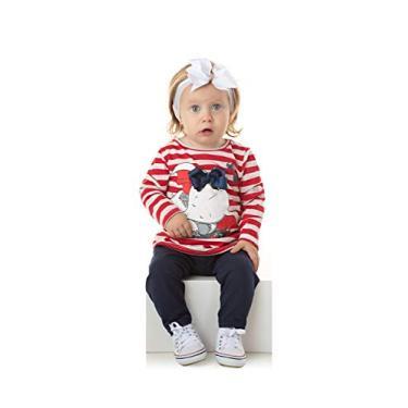 Roupa de Bebe Menina Conjunto Feminino Inverno Roupa de Frio Cor:Vermelho;Tamanho:M