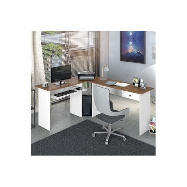 Escrivaninha para Escritório em L 1 Gaveta Max Zanzini Madeirado / Branco