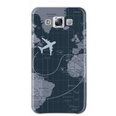 Capa para Galaxy E5 Mapa Mundi Dark