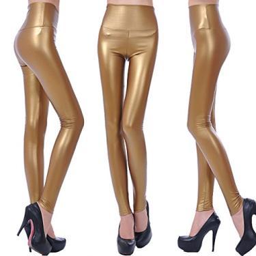 DYNWAVE Calça legging feminina de couro PU cintura alta aparência molhada elástica, Dourado, S