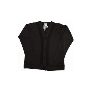 Casaco Cardigan Botões Básico Detalhe Renda Plus Size