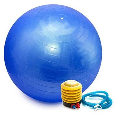 Bola Pilates Yoga Abdominal Ginastica Fitness 55 cm C/Bomba Cor: Azul