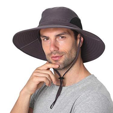 SENWAI Chapéu de sol para homens/mulheres, chapéu balde de proteção solar, impermeável, respirável, aba larga, chapéu de praia para pesca, caminhadas, cinza