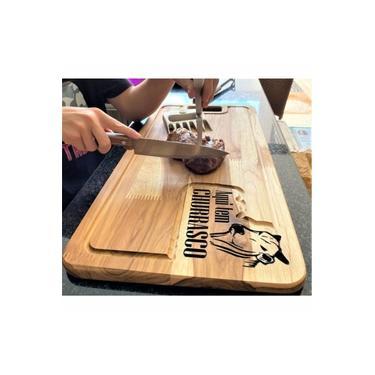 Imagem de Kit Tabua De Carnes Para Churrasco Grande 2cm + Garra Urso