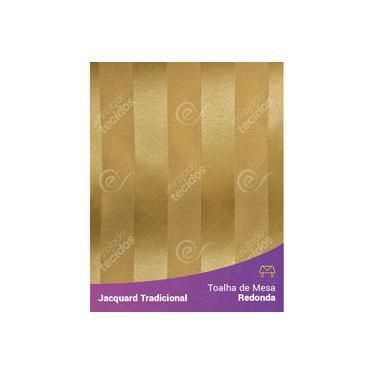 Imagem de Toalha De Mesa Redonda Em Tecido Jacquard Dourado Ouro Vibrante Listrado Tradicional