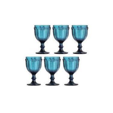 Jogo de Taças Libélula 260ml Azul 6 Peças Vidro