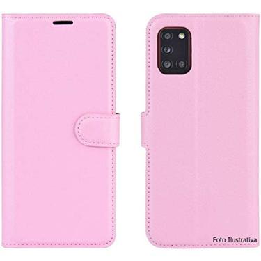 "Capa Capinha Carteira 360 Para Samsung Novo Galaxy A12 com Tela de 6.5"""" Polegadas Case Couro Flip Wallet (Rosa)"
