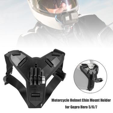 Frente queixo suporte titular tripé de montagem do capacete da motocicleta cinta queixo montagem
