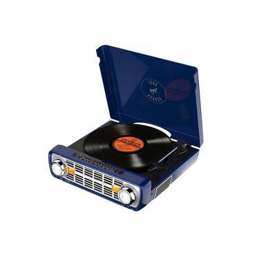Toca-discos vinil Bronco LP ION c/ rádio, USB, entrada auxiliar e conversão digital - Azul