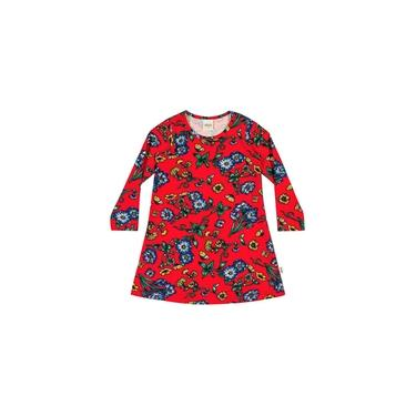 Vestido Infantil Inverno Vermelho Floral Elian