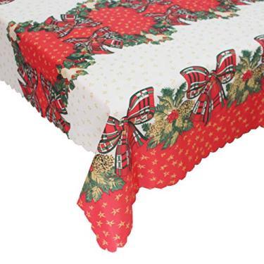 Imagem de giveyoulucky 150 x 180 cm Toalha de mesa de Natal com estampa temática de Natal retangular requintada capa de mesa de poliéster decoração de festa H