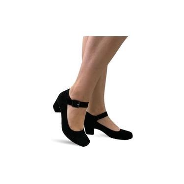 Sapato Lilha Shoes Feminino Confortavel Salto Baixo Grosso - 880 Preto Nobuck