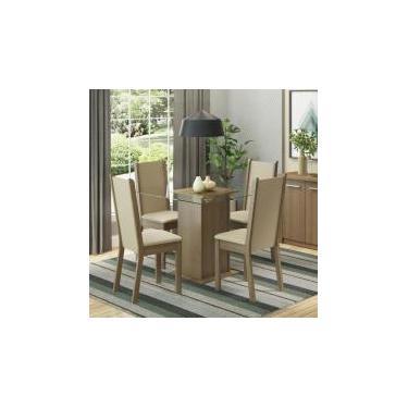 Conjunto Sala de Jantar Aline Madesa Mesa Tampo de Vidro com 4 Cadeiras - Rustic/ Crema/ Pérola -